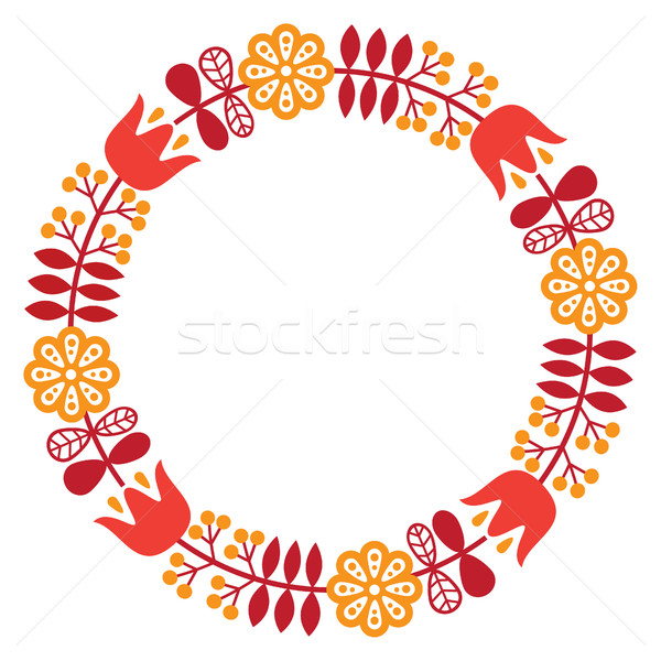 Finnish inspired round folk art pattern - Nordic, Scandinavian style Stock photo © RedKoala
