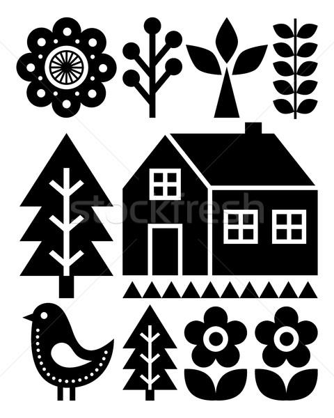 Finnish inspired folk art pattern - Scandinavian, Nordic style in black Stock photo © RedKoala