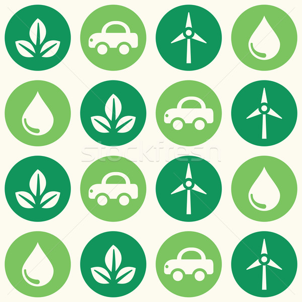 Retro eco verde sem costura papel de parede Foto stock © RedKoala