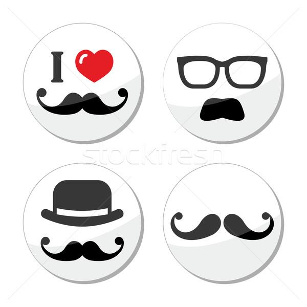 I love mustache / moustache icons set Stock photo © RedKoala