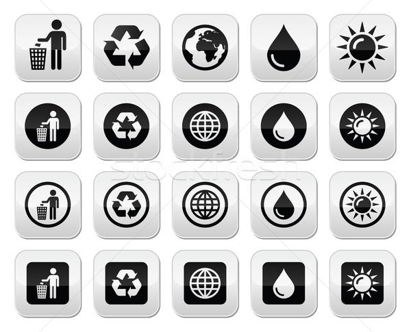 Man and bin, recycling, globe, eco power buttons set Stock photo © RedKoala