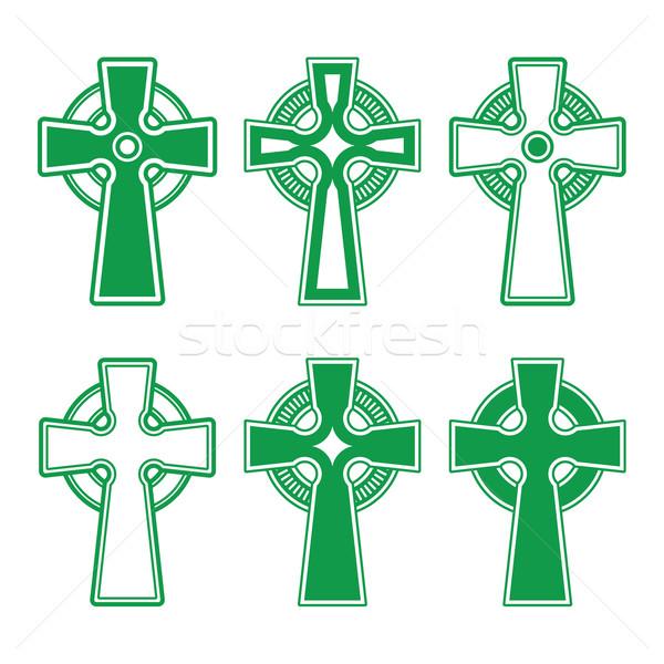 ирландский кельтской зеленый крест белый вектора Сток-фото © RedKoala