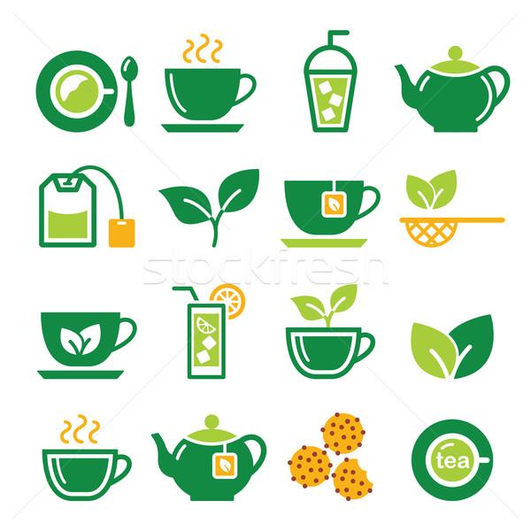 Yeşil çay buzlu çay vektör içmek Stok fotoğraf © RedKoala
