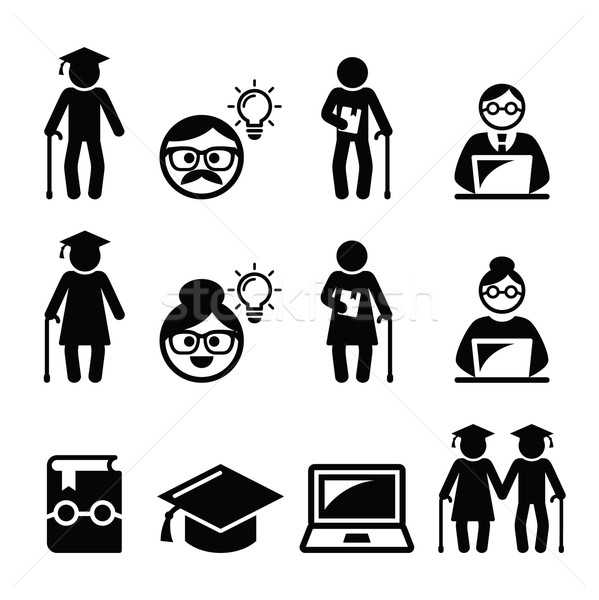 Stock photo: University of the Third Age, Senior education icons set