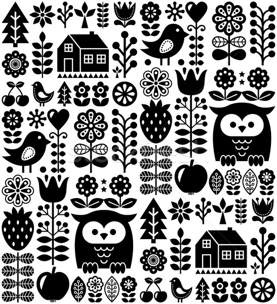 Scandinavian seamless folk pattern - black Finnish folk art, Nordic style   Stock photo © RedKoala