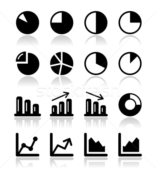Chart graph black icons set for infographic Stock photo © RedKoala