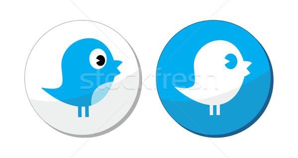 Social media Blauw vogel vector moderne Stockfoto © RedKoala