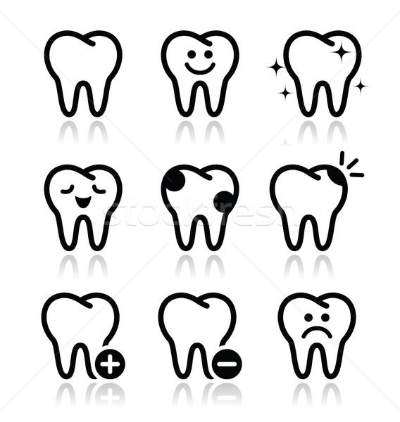 Zębów zęby wektora dentysta czarno białe Zdjęcia stock © RedKoala