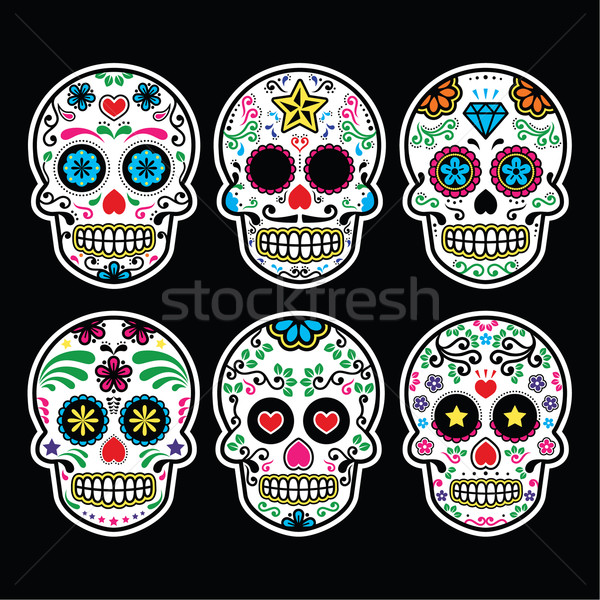 Mexican sugar skull, Dia de los Muertos icons set on black background Stock photo © RedKoala