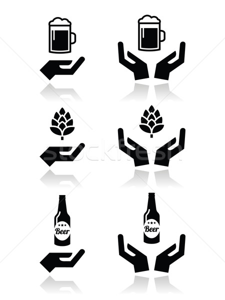Beer bottle and glass, hops with hands icons set  Stock photo © RedKoala