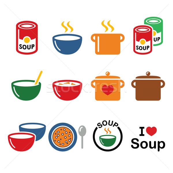 Soup in bowl, can and pot - food icon set  Stock photo © RedKoala