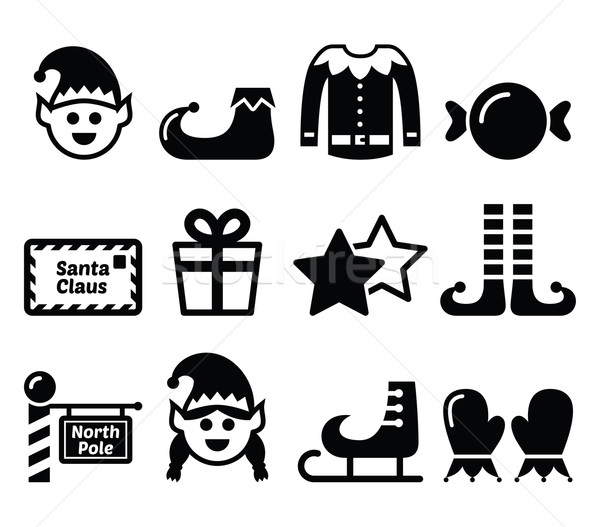 Elf, Christmas vector icons set Stock photo © RedKoala