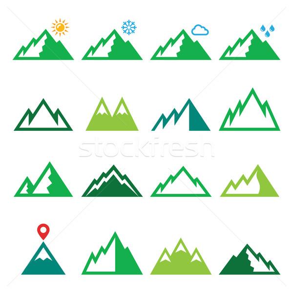 Mountains, nature vector green icons set  Stock photo © RedKoala