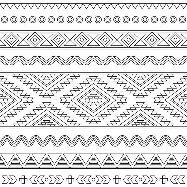 Tribal seamless Aztec stroke black pattern on white  Stock photo © RedKoala