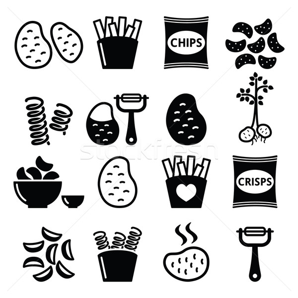 Stock photo: Potato, French fries, crisps, chips vector icons set
