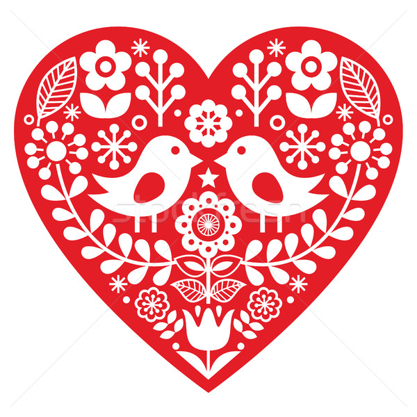 Scandinavian red folk art pattern with birds and flowers -  Valentine's Day, love concept Stock photo © RedKoala