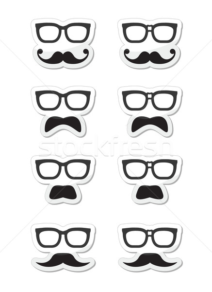 Geek glasses and moustache or mustache vector labels Stock photo © RedKoala