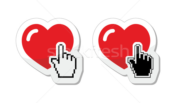 Heart with cursor hand labels - valentines, love, finding partner online concept Stock photo © RedKoala