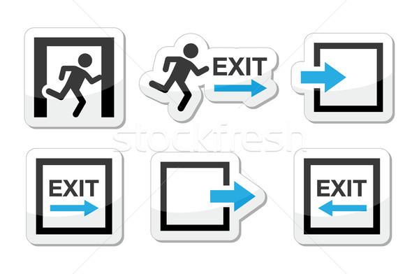 Stockfoto: Nood · uitgang · iconen · vector · ingesteld · gevaar