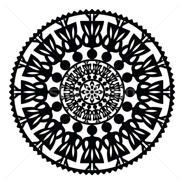 Stock photo: Polish traditional folk pattern in circle with women