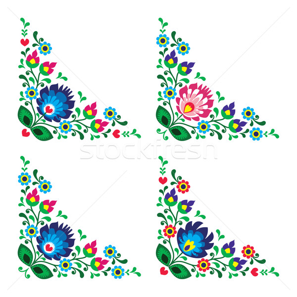 Corner border Polish floral folk embroidery pattern - wzory lowickie Stock photo © RedKoala