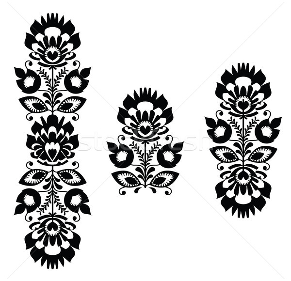 Folk embroidery - floral traditional polish pattern in black and white Stock photo © RedKoala