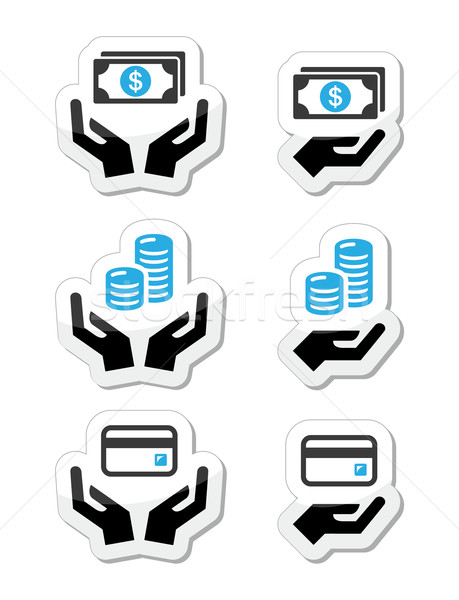 Hands with money, coins vector icons set  Stock photo © RedKoala