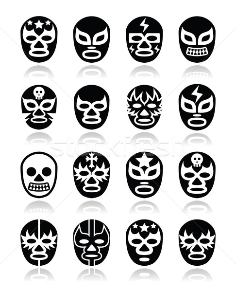 Stock photo: Lucha libre Mexican wrestling masks icons