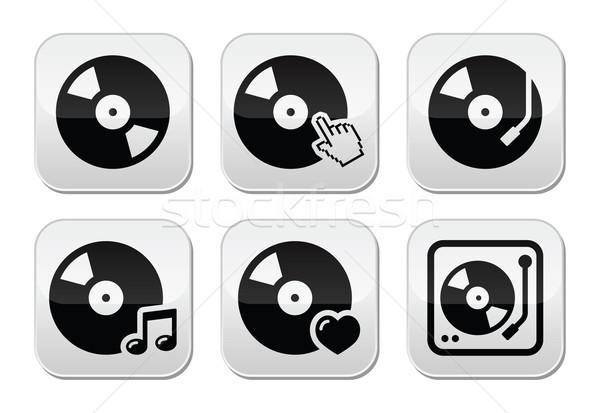 Vinyle record vecteur boutons Photo stock © RedKoala