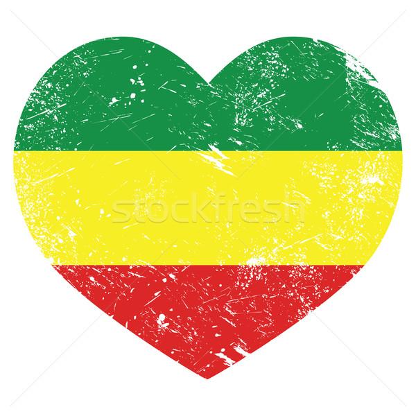 Retro szív alakú zászló klasszikus grunge Stock fotó © RedKoala