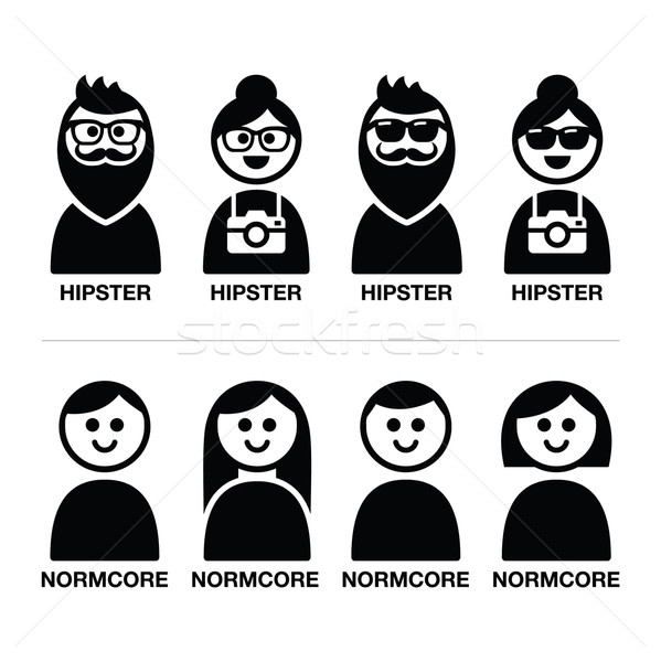 Hipster and normcore trend, style - man and woman icons Stock photo © RedKoala