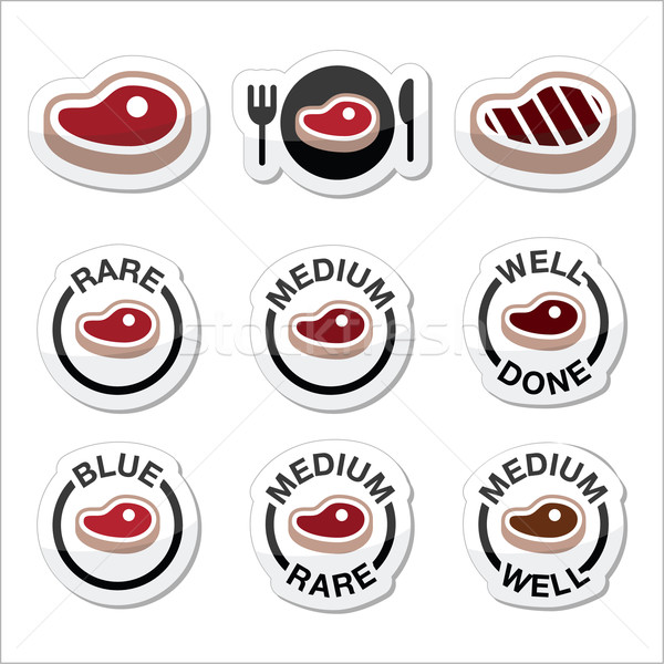 Steak - medium, rare, well done, grilled icons set Stock photo © RedKoala