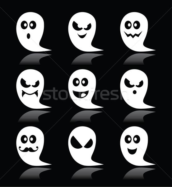 Halloween ghost vector icons set on black backgroud   Stock photo © RedKoala