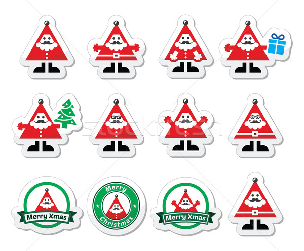 Santa Claus icons, Merry Christmas icon labels Stock photo © RedKoala
