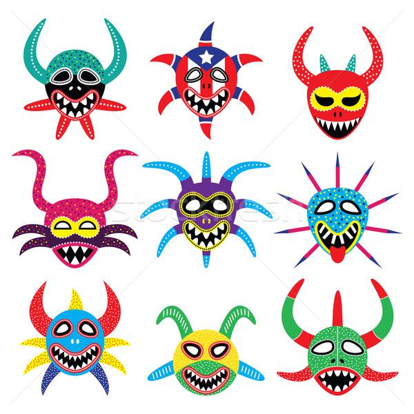 Masker carnaval Puerto Rico iconen vector Stockfoto © RedKoala