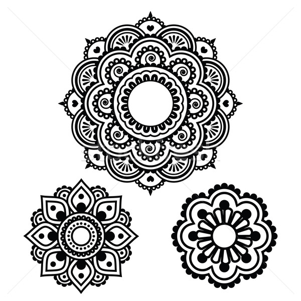 Indian Henna tattoo round design - Mehndi pattern Stock photo © RedKoala