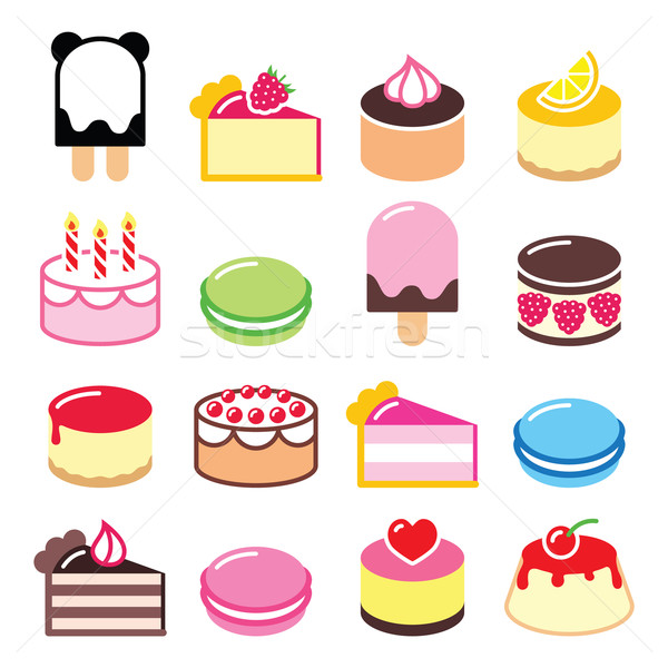 Dessert icons set - cake, macaroon, ice-cream icons     Stock photo © RedKoala