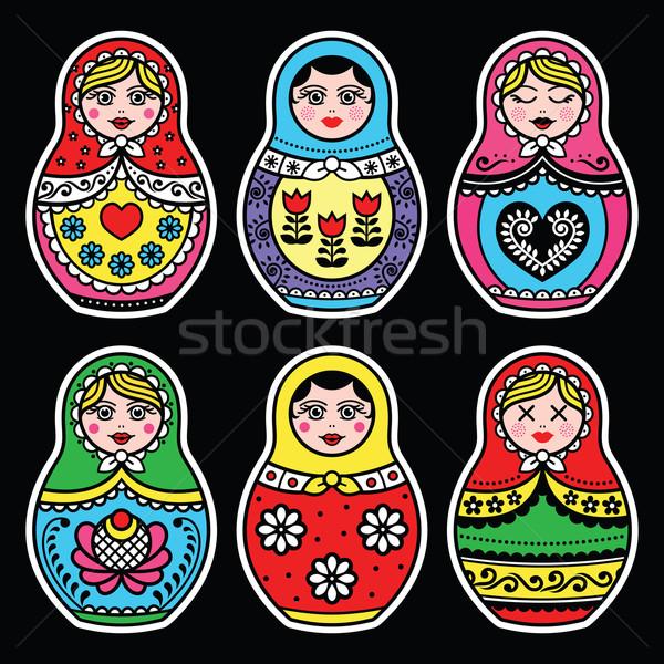 Matryoshka, Russian doll colorful icons set on black Stock photo © RedKoala