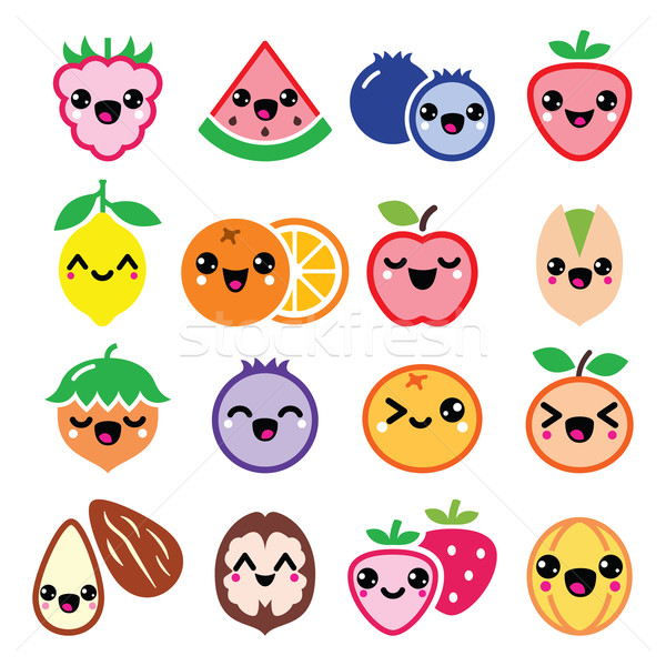 Kawaii frutas nueces cute diseno Foto stock © RedKoala
