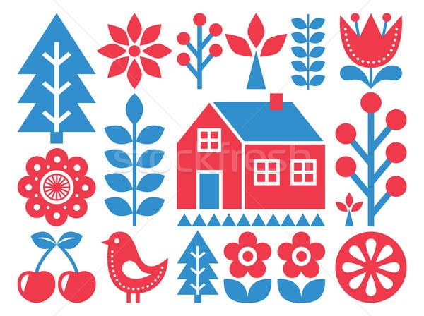 Finnish inspired folk art pattern - Scandinavian, Nordic style  Stock photo © RedKoala