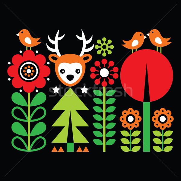 Scandinavian folk art pattern with flowers and animals, Finnish inspired design on black  Stock photo © RedKoala