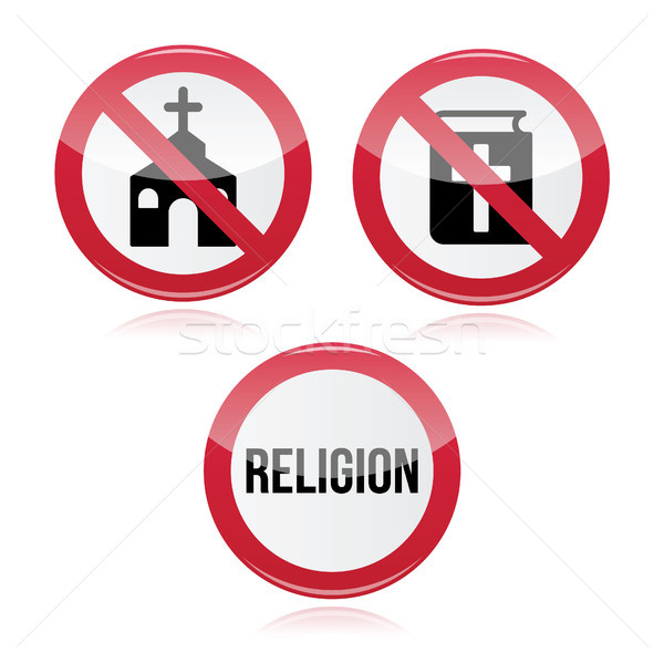 No religion, no church, no bible red warning sign Stock photo © RedKoala