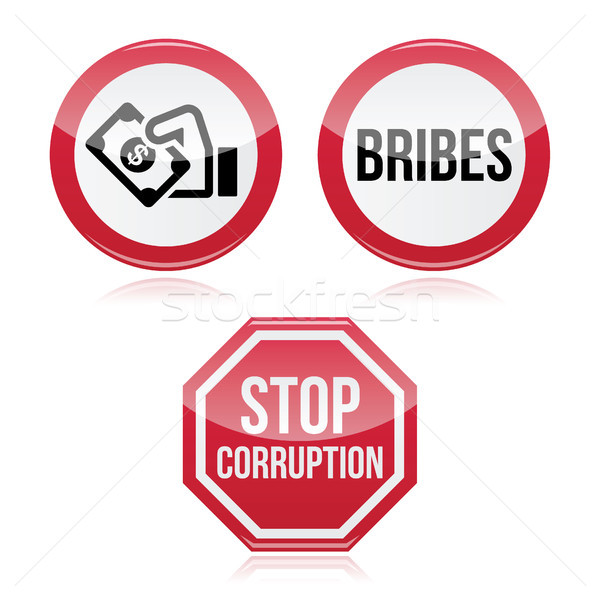 No bribes, sto corruption red warning sign Stock photo © RedKoala
