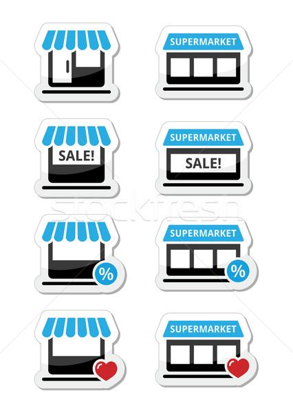 Single shop / store, supermarket vector icons set Stock photo © RedKoala