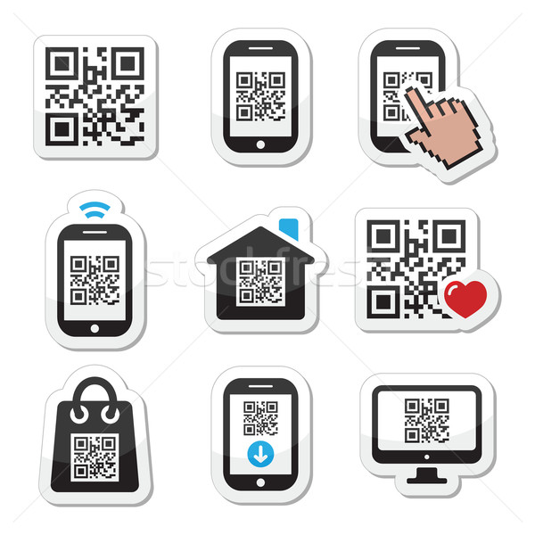QR code on mobile or cell phone icons set Stock photo © RedKoala