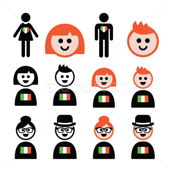 St Patricks Day, irish poeple with flags and ginger hair icon Stock photo © RedKoala