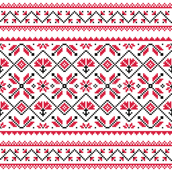 Ukrainian, Slavic folk knitted red emboidery pattern or print Stock photo © RedKoala