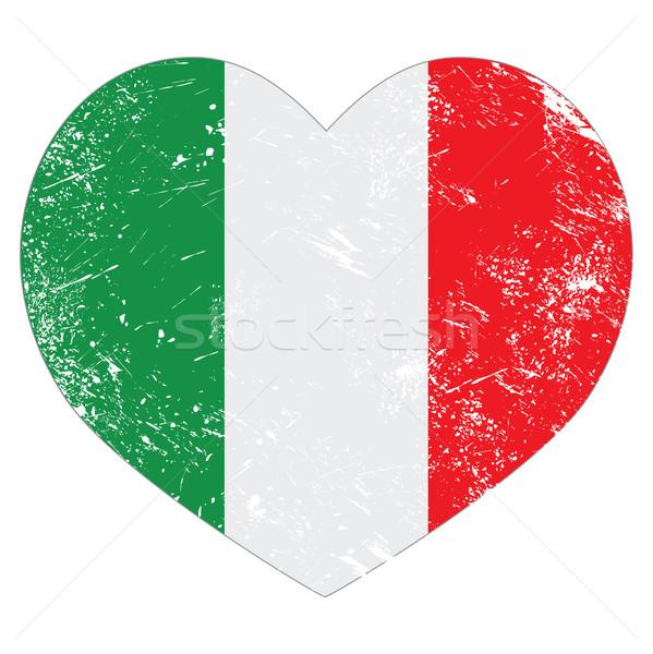 Stok fotoğraf: İtalya · kalp · Retro · bayrak · İtalyan