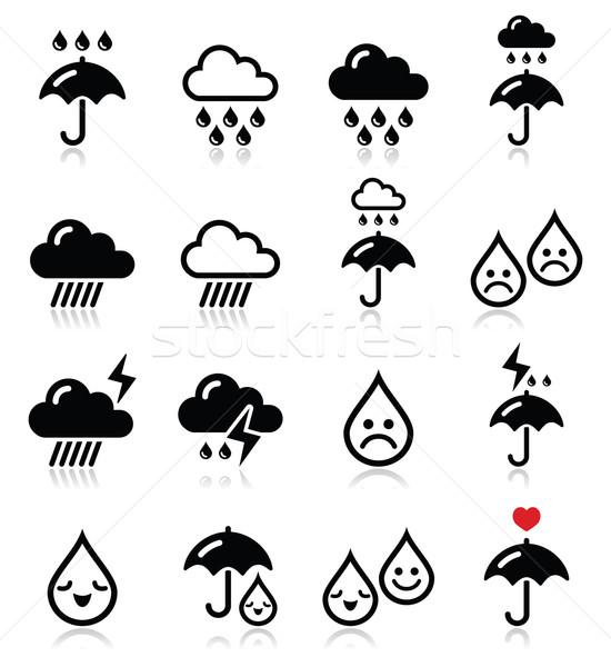 Regen onweersbui zwaar wolken vector Stockfoto © RedKoala