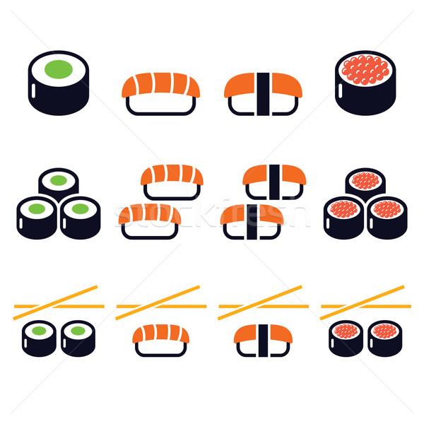 Sushi - Japanese food vector icons set Stock photo © RedKoala